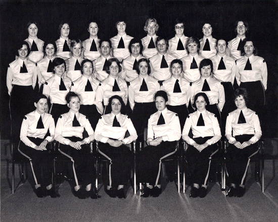 1975 - Photograph of RCMP Troop #17 1974/75 - first female members in the Force (Source of photo - Donna Morse).