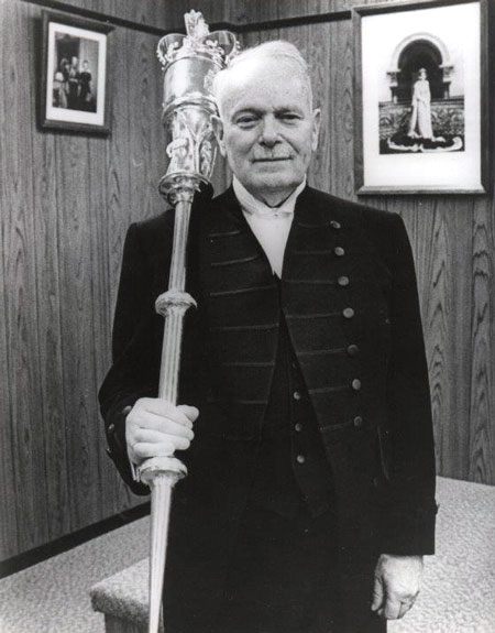 """Photograph of Gordon Cameron as the """"Sergeant-of-Arms"""" for the Yukon Legislature (Source of photo - Ione Christensen)."""