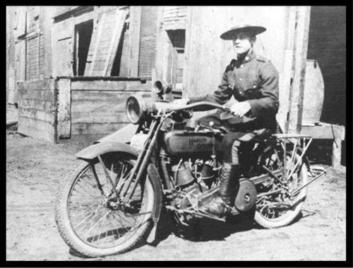 Photograph of an early RNWMP motorcycle (Source of photo - Ric Hall's Photo Collection).