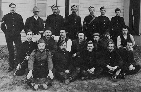 "1894 - Photograph of the NWMP working members at ""E"" Division Lethbridge (Source of photo - RCMP Veterans' Association - Vancouver Division's Photo Collection)."