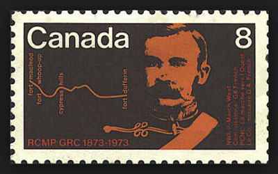Photograph of the Canadian stamp dedicated to Commissioner George French - NWMP Commissioner.