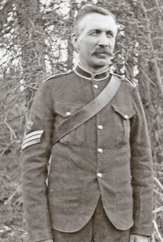Photograph of NWMP Sergeant Orrin Evans (Source of photo - Barbara Schwabe: great, great grand daughter of Orrin Evans).