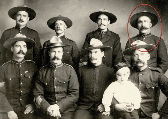 1902 - Photographs of the NWMP senior NCOs stationed at Dawson, Yukon.  Sergeant Orrin Evans' image is circled in red (Source of photo - RCMP Veterans' Association - Vancouver Division's Photo Collection).