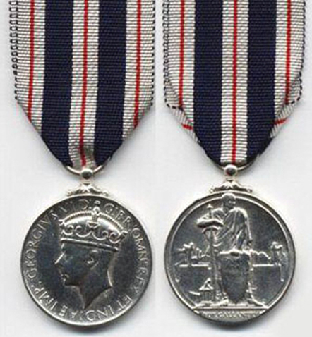 Photograph of the face and reverse of the King's Police Medal For Gallantry (Source of photo - The Sclaret Force Collectors website).