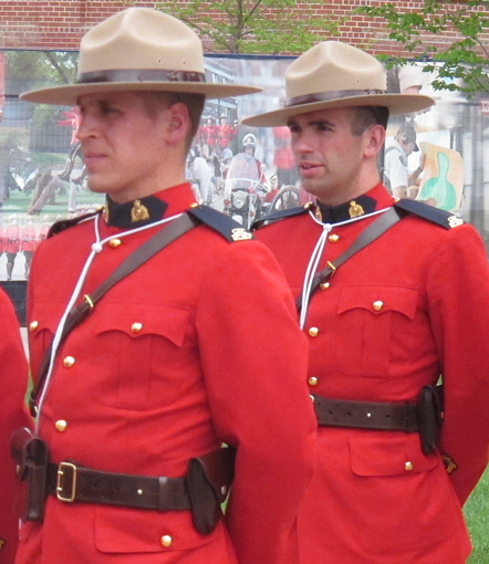 "2013 - Photograph of two RCMP Cadets preparing to march into the ""Depot"" Drill Hall (Source of photo - Sheldon Boles)."