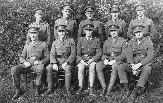 Spring 1918 - Photograph taken at St. Milaire France. Front row (L to R): Lieut. MacKay (Winnipeg Police - killed in action); Lieut Edward Duval (CPR - killed in action); Jimmy Edgar (Company Commander); Cpt. Eion MacBrayne; Lieut. J.H. MHusian (signaling officer). Backrow (L to R): Lieut W. Johnston (sent home in 1918 on compassionate grounds); Lieut.  Douglas Wright  (from Saskatoon - killed in action) and Capt. Arthur Chapam. (Source of photo - Ric Hall's Photo Collection).
