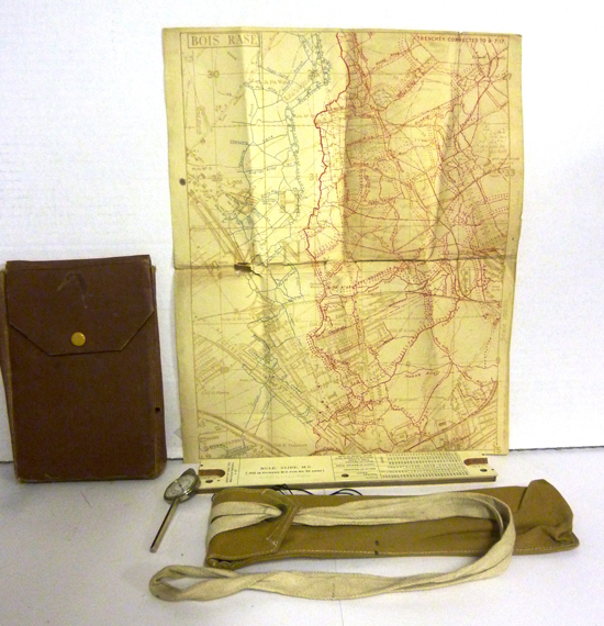 Photograph of the map case, map of trenches and slide rule for the use with the Vickers Machine Gun.  Property of Eion MacBrayne. (Source of photo - Ric Hall's Photo Collection).