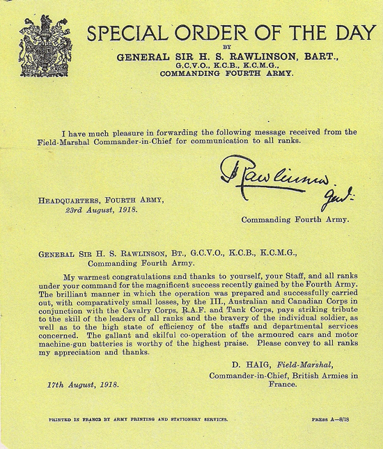 Photograph of Special Order Of The Day for the action achieved by members of the Canadian Fourth Army. (Source of photo - Ric Hall's Photo Collection).