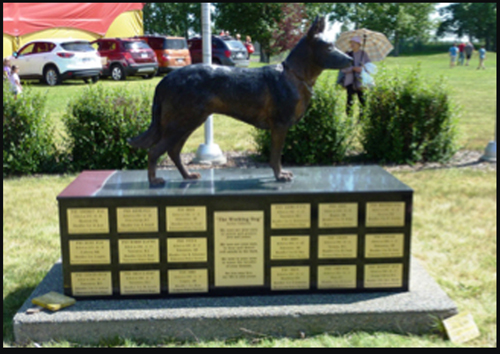 Photograph of the RCMP Police Service Dog Memorial (Source of photo - Ric Hall's Photo Collection).