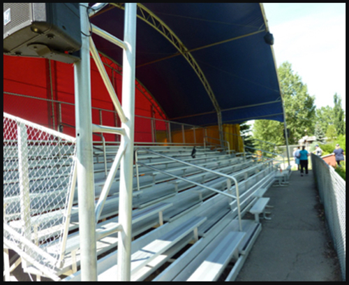 Photograph of the covered stands at the RCMP Police Service Dog Training Centre (Source of photo - Ric Hall's Photo Collection).