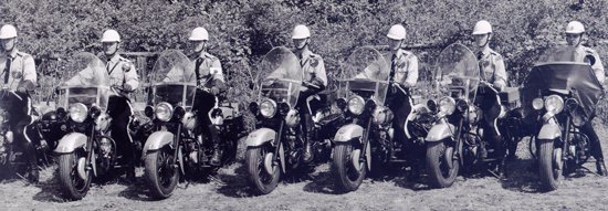 1960 Photograph of RCMP members attending the Cloverdale Motorcycle course (Source of photo - Ric Hall's Photo Collection).