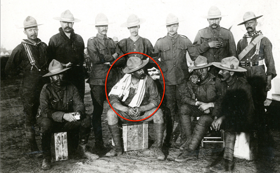 """Photograph of members of the Canadian Mounted Rifles in South Africa. Walter de Rossiter is circled in red (Source of photo - RCMP Historical Collections Unit - """"Depot"""" Division)."""