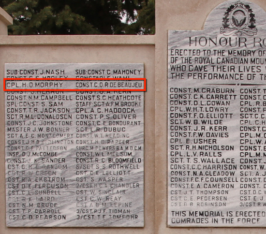 """Photograph of the RCMP Cenotaph at """"Depot"""" Division with the names of"""