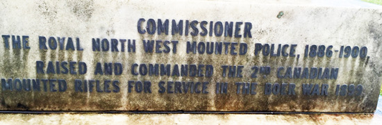 Photographs of the base of the grave marker for former Commissioner Laurence Herchmer taken by Veteran Steve Gibson.