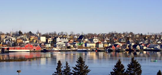 Photograph of the Lunenburg Nova Scotia harbour taken by Harold Feiertag.
