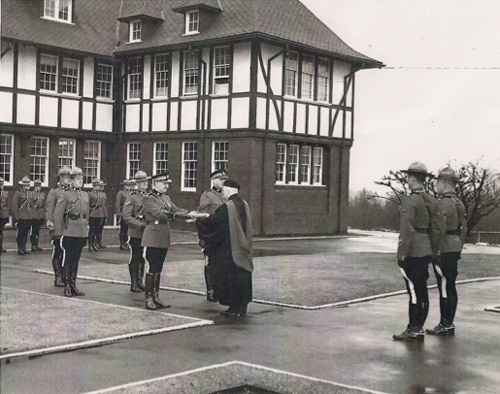 1965 - RCMP Fairmount Barracks in Vancouver - Blessing the new flag (Source of photo - Ric Hall' Photo Collection).