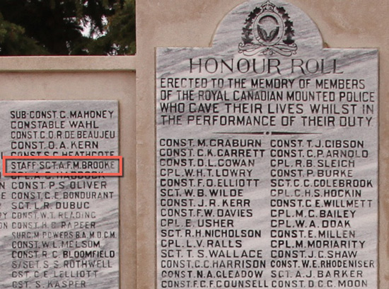 """Photograph of the RCMP Cenotaph at """"Depot"""" Division in Regina with the name of S/Sgt."""