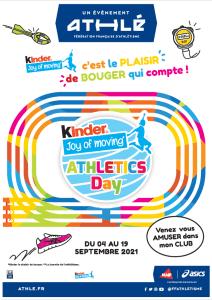 Read more about the article Kinder Joy of moving : journée découverte Athlétisme pour les enfants de 7 à 11 ans le 15 septembre 2021