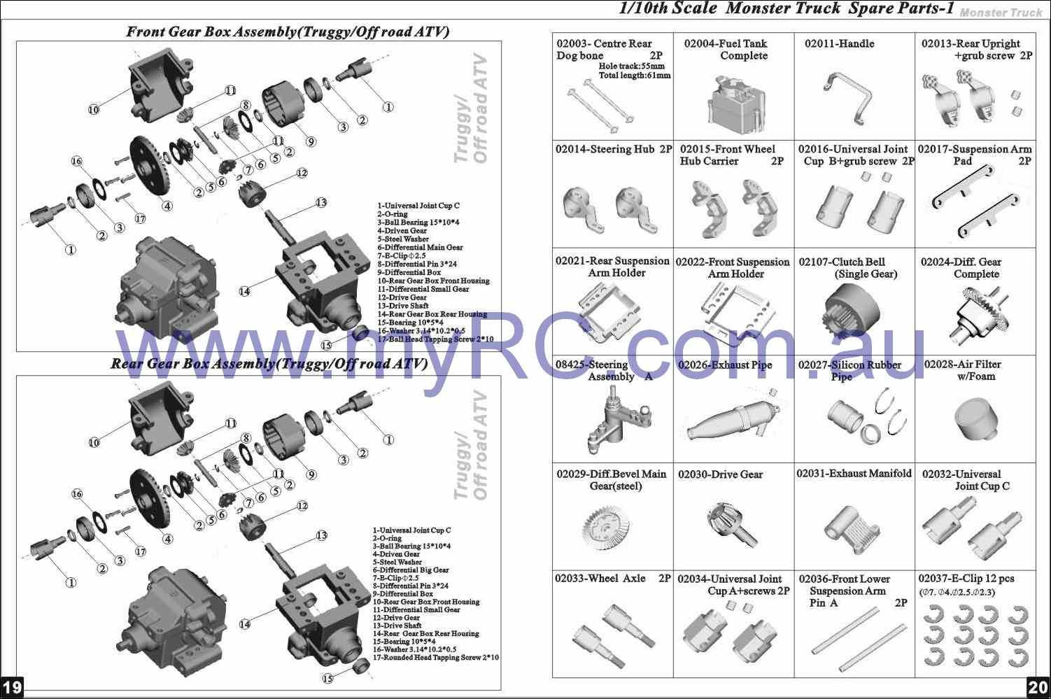 Himoto Hsp Nitro Monster Truck Parts List 4