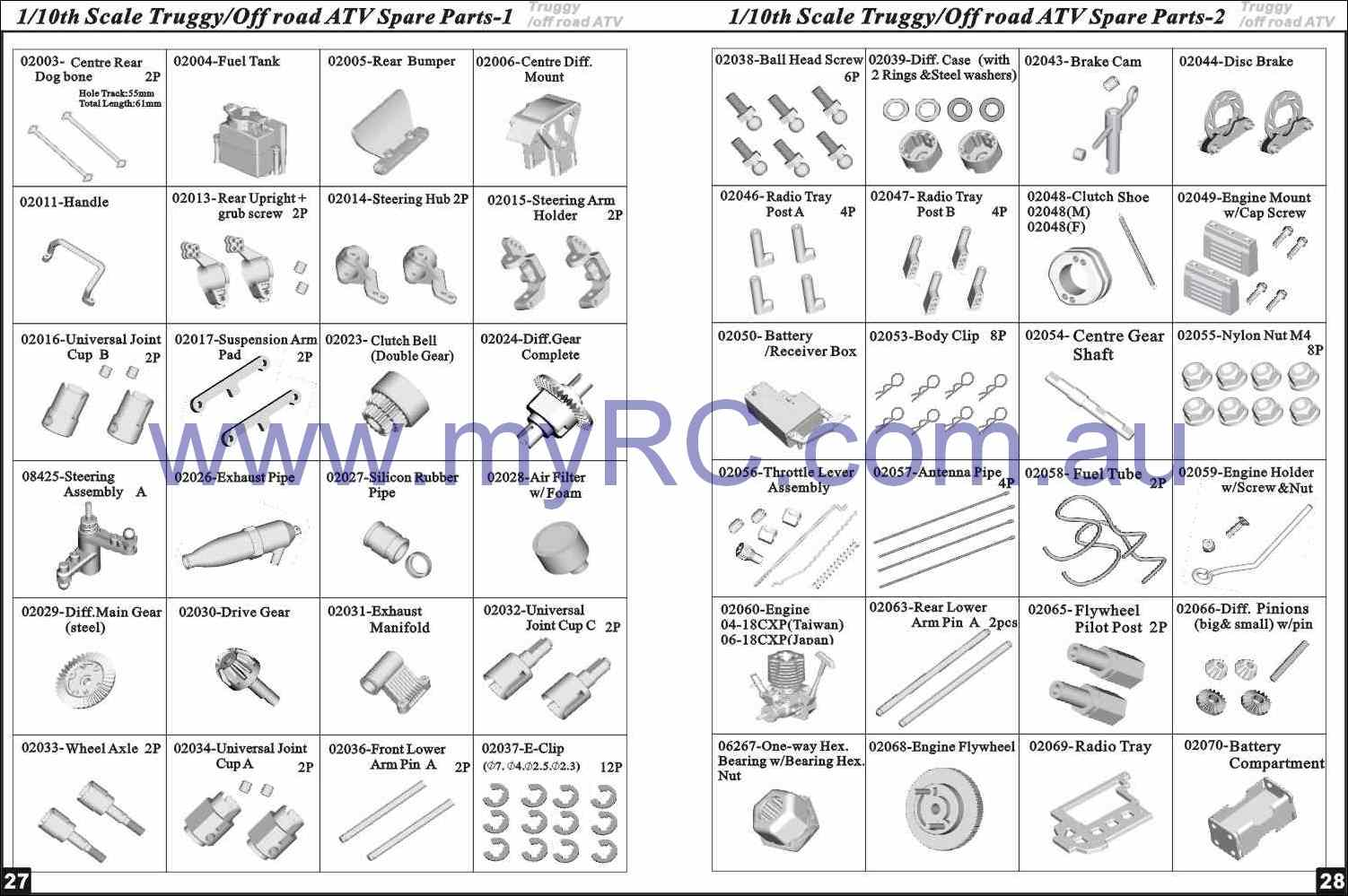 Himoto Hsp Nitro Monster Truck Parts List 8