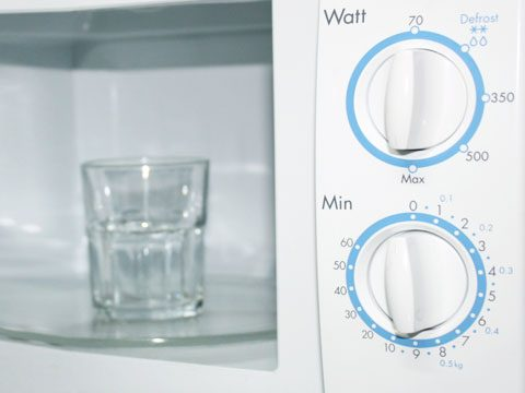 To clean your microwave oven, microwave a cup of water with some baking soda in it until it