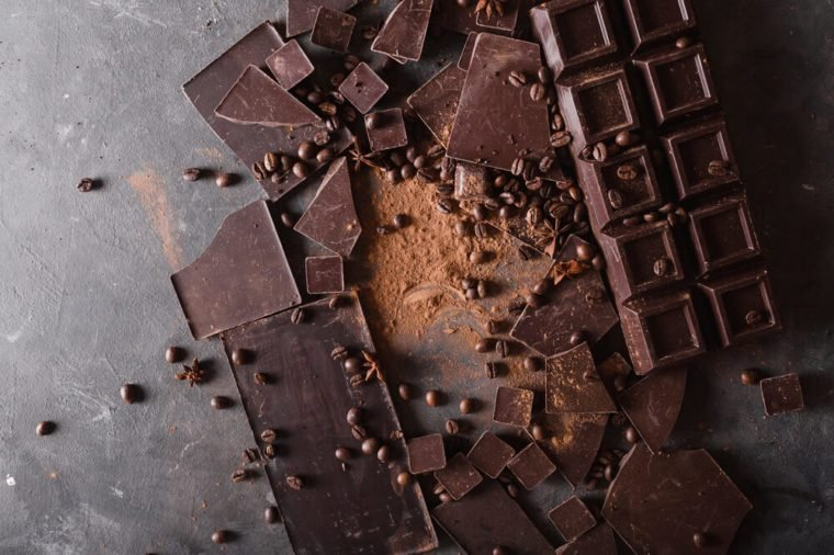 Chocolate chunks and cocoa powder. Sweet food photo concept.