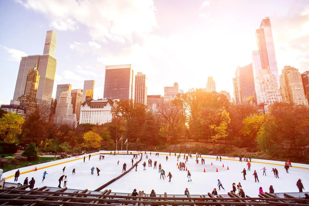 Ice skaters having fun in New York Central Park