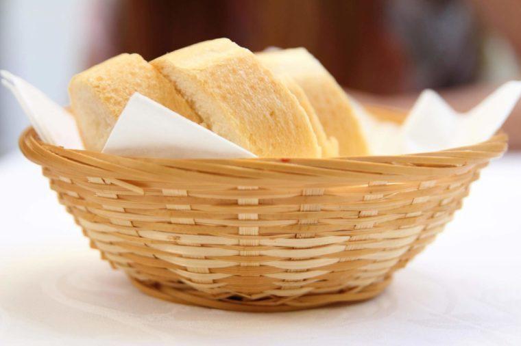 basket of bread in restaurant