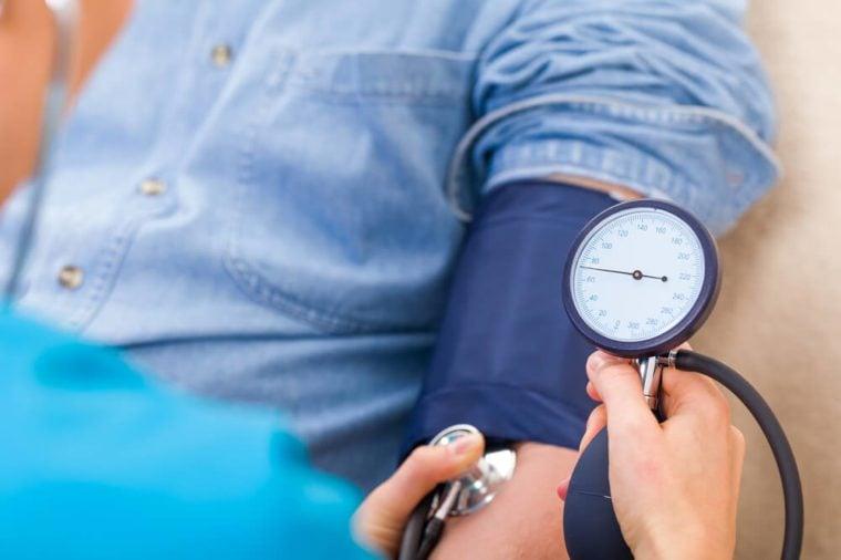 Close up photo of blood pressure measurement