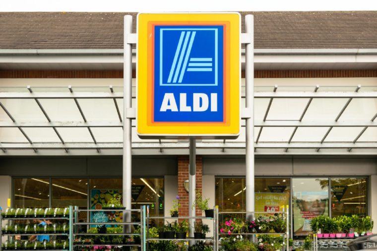 Exeter, Devon, United Kingdom - August 18, 2016: Outside Aldi supermarket in Exeter. Aldi is a leading global discount supermarket chain with almost 10,000 stores in 18 countries.