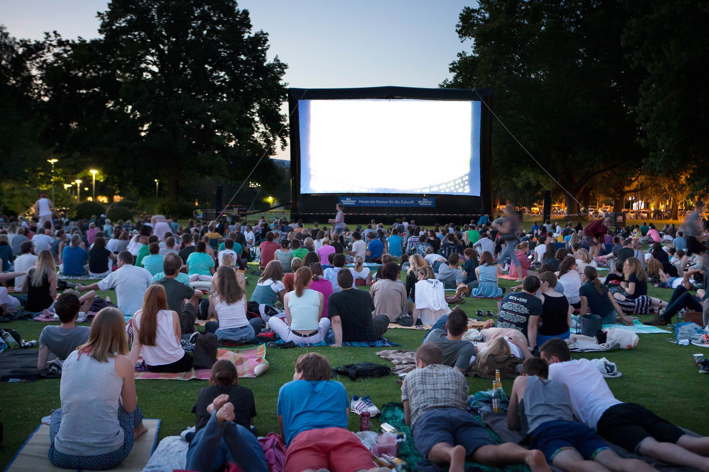 Image result for picture of people at the movies outside