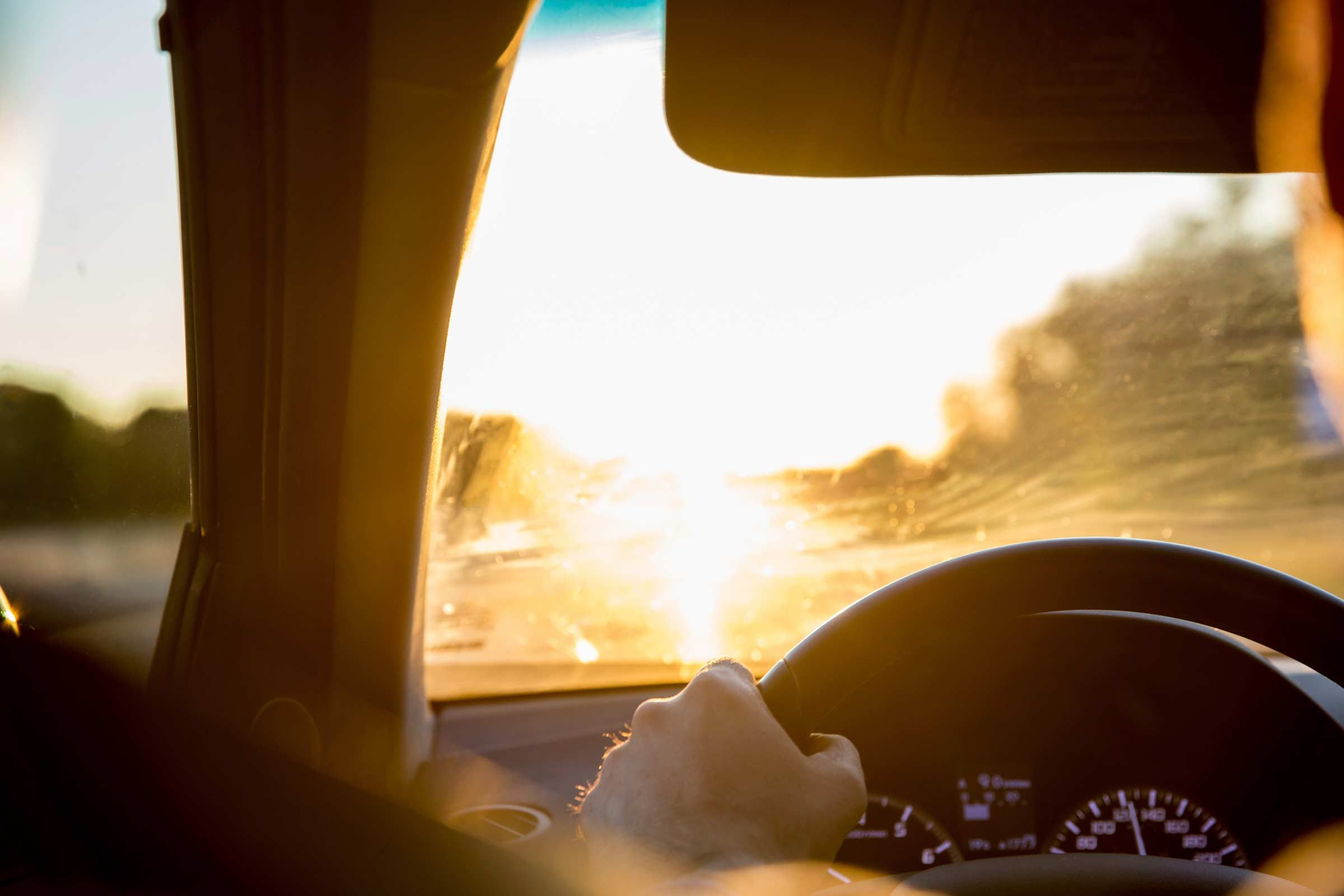 Watch for sun damage when you're behind the wheel.