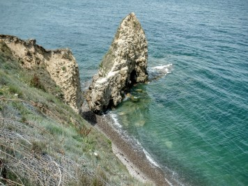 Pointe du Hoc. The Rangers scaled this cliff in one of the most legendary parts of the battle.