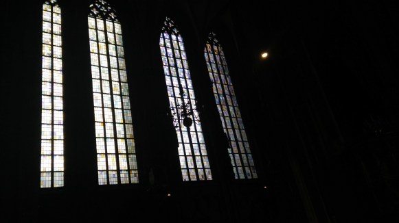 Cool stained glass at St. Peter's church in Vienna... note the muted, single-color window panes, as opposed to the ostentatious illustrations in most churches of this period.