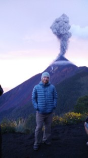 Taken on volcano Acatenango, with fuego erupting in the background.