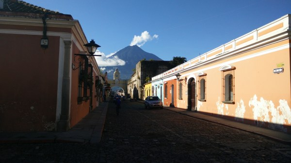 The main street in Antigua, with Agua in the background.