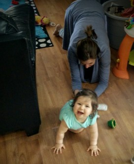 Kristen literally chasing Stella around the house on her hands and knees.
