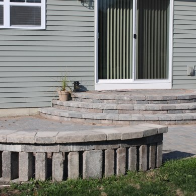 Backyard Patio with Circle Kit and Custom Stairs
