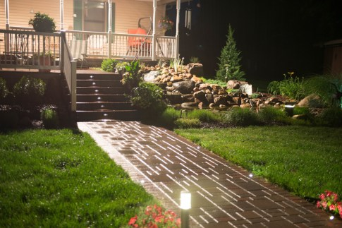 Brick Walkway and Water Feature