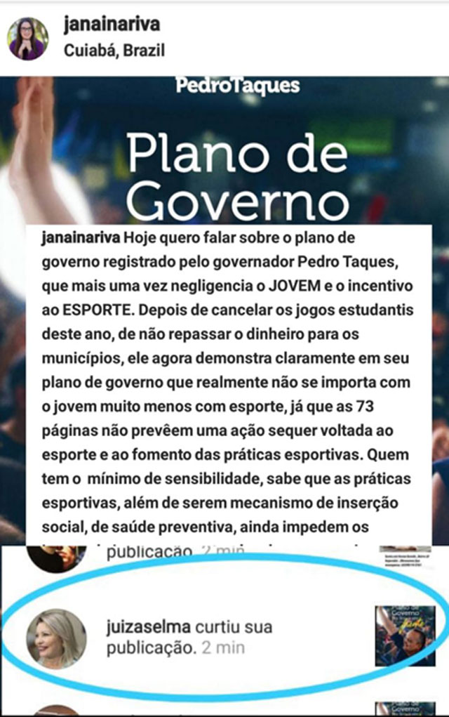 Selma Arruda post Janaina Riva
