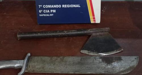 Machado - arma usada por marido para agredir a esposa em Sapezal