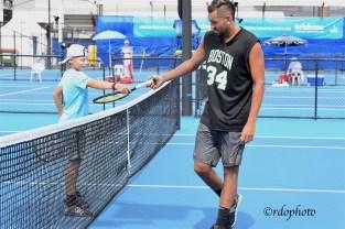 Nick Kyrgios con il figlio di Leyton Hewitt ATP CUP 2020 Brisbane - foto di Roberto Dell'Olivo