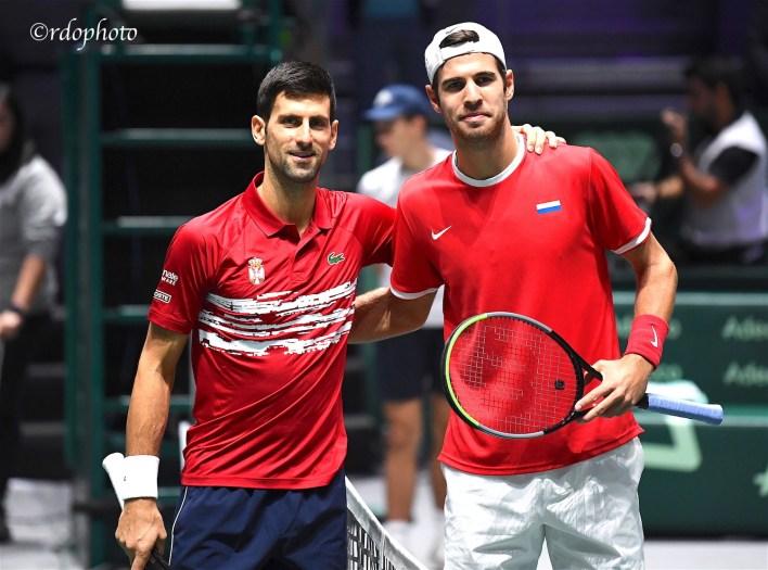 Novak Djiokovic (Serbia) e Karen Khachanov (Russia) - Madrid Coppa Davis 2019