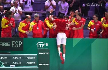 Roberto Bautista Agut al termine del match contro il canadese Felix Auger Aliassime - Madrid Finale Coppa Davis 2019