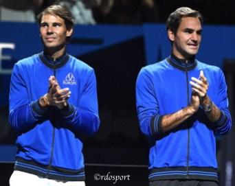 Rafael Nadal e Roger Federer - Laver Cup 2019 Ginevra - foto di Roberto Dell'Olivo
