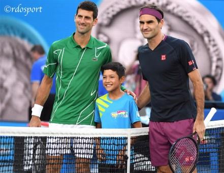 Djokovic ad inizio match in semifinale con Federer