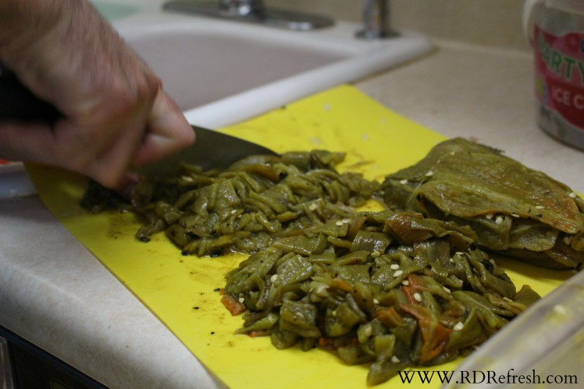 Chopping chiles for Kevin's Famous Green Chile Sauce