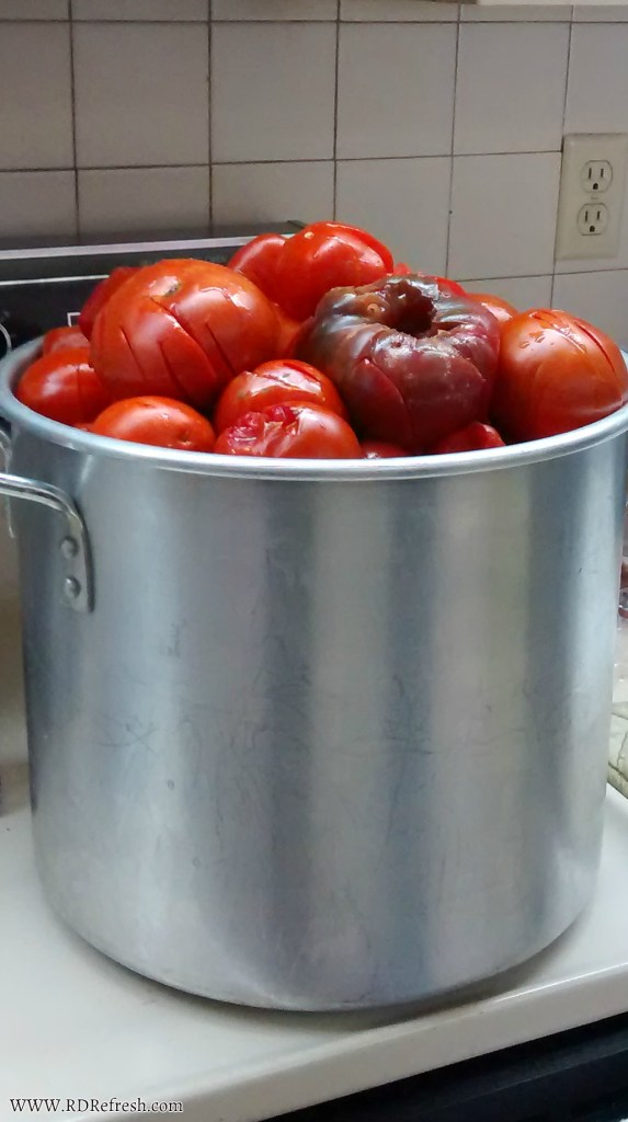Tomatoes in stock pot