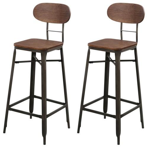 tabouret de bar en bois et pieds en metal