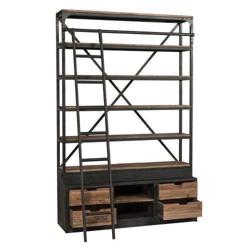 bibliotheque 160 cm en bois et metal avec echelle